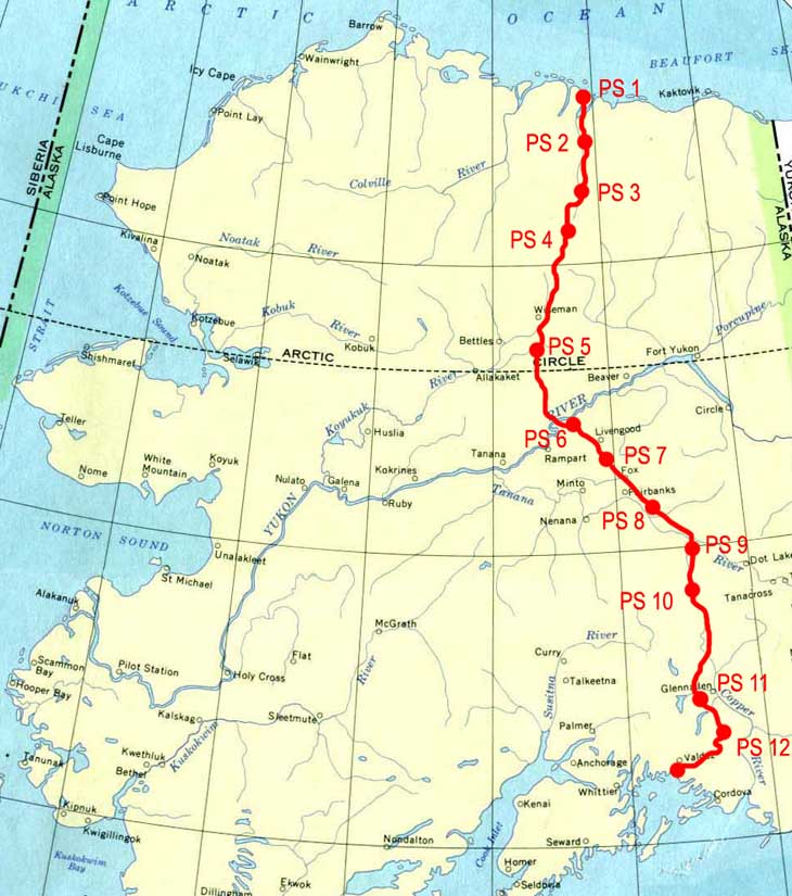 Prudhoe Bay Alaska Map.Trans Alaska Pipeline System From Prudhoe Bay Alaska To Valdez Alaska